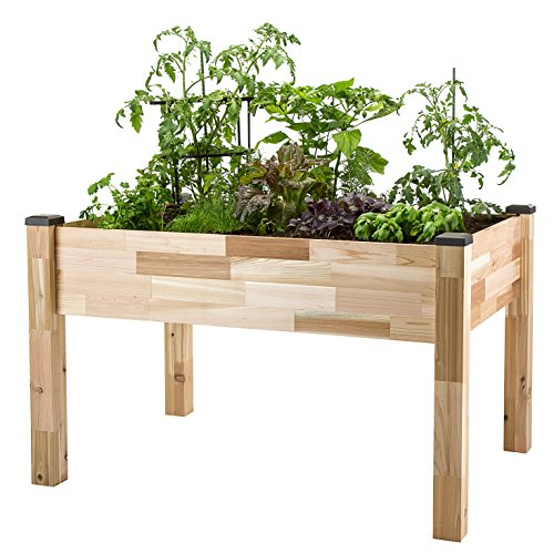 "CedarCraft Elevated Cedar Planter (34"" X 49"" X 30"") - Grow Fresh Vegetables, Herb Gardens, Flowers & Succulents. Beautiful Raised Garden Bed for a Deck, Patio or Yard Gardening. No Tools Required."