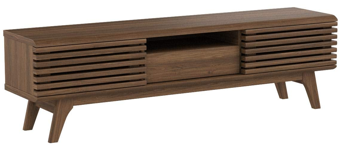 Modway Render Mid-Century Modern Low Profile 59 Inch TV Stand in Walnut by Modway