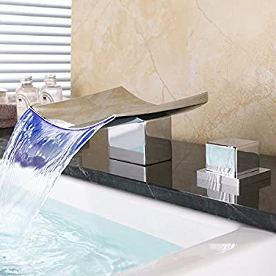 Dr Faucet Deck Mount 2 Handle 3 Hole Widespread LED Waterfall Bathroom Bath Tub Faucet 6.3 Inch Wide Spout, Chrome Finish