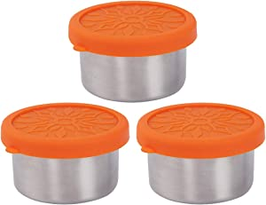 kilofly 3-Piece BPA Free Leak Proof Reusable Round Eco to Go Stainless Steel Food Storage Container with Silicone Lid for Dip Condiment Salad Dressing Meal Prep Snack Lunch, 3.4-Ounce Orange