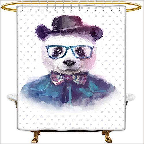 Shower Curtain Collection Vintage Hipster Panda with Bow Tie Dickie Hat Horn Rimmed Glasses Watercolor Style Print Black Blue. Bathroom Decorations.W72 x H72 Inch (Collection Lauren Conrad)