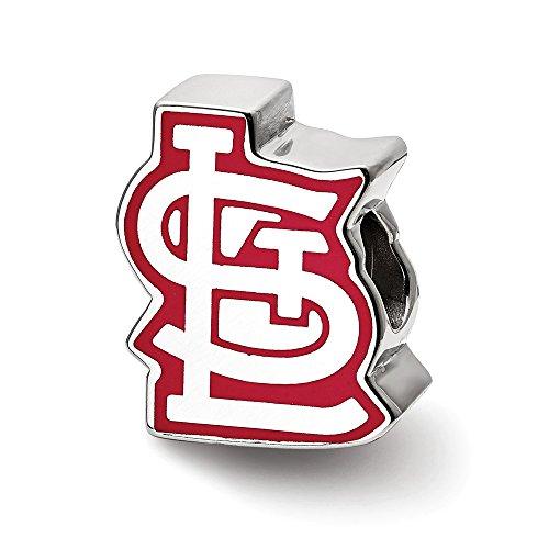 Mia Diamonds 925 Sterling Silver MLB LogoArt St. Louis Cardinals Enameled Logo Bead Charm for Charm Bracelet