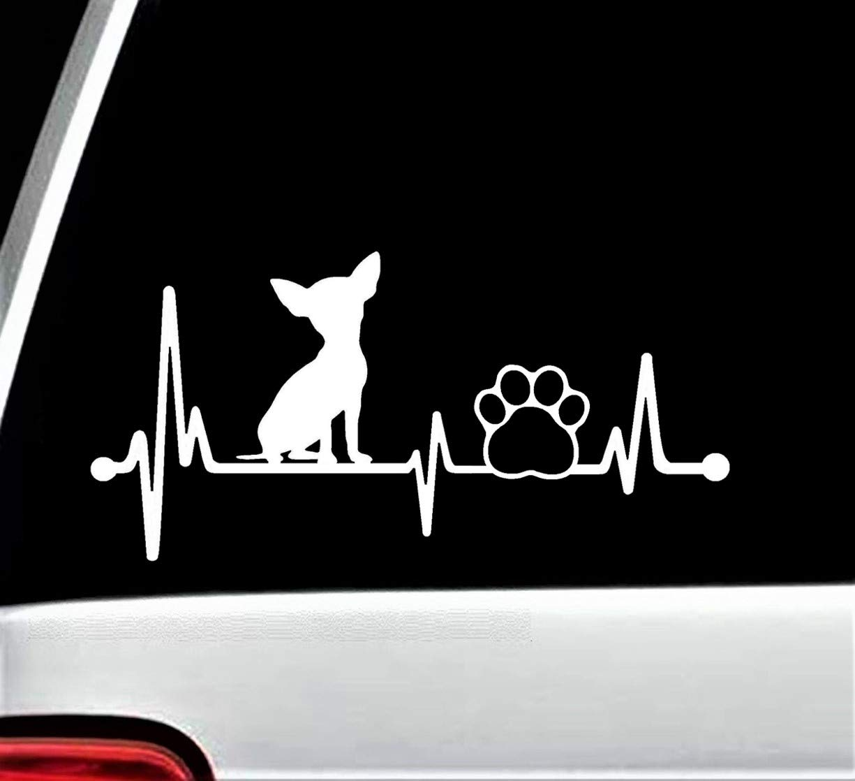 Chihuahua Heartbeat Paw Lifeline Decal Sticker for Car Window 8 Inch BG 134