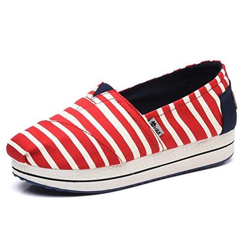 TIOSEBON Women's Slip-On Fashion Sneaker Elastic Platform Shoes with Stars 6615 Red