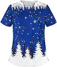 KAIXLIONLY Women V-Neck Christmas Thanksgiving Printing Graphic T-Shirt Short Sleeve Tops Working Uniform Nurs