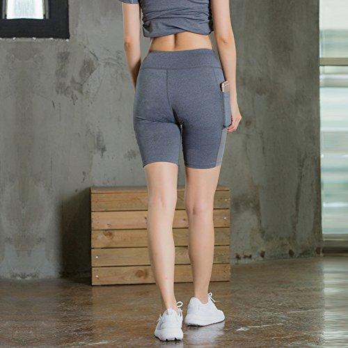 Pantaloncini Mxssi allenamento corsa da vita slim palestra a Grigio Pantaloncini da da shapewear donna yoga alta da da Active ciclismo PrPxaO