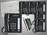 6 Panasonic KX-T7731 Black Phones with New Panasonic KX-TA824 Phone System with KX-TA82483 3x8 Expansion Card - 1 Year Warranty Included