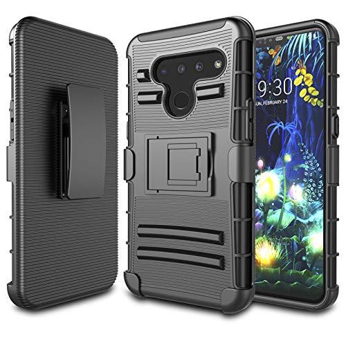 LG V50 ThinQ Case, LG V50 Holster Clip Case, Njjex [Ngate] Armor Defender Locking Swivel Belt Clip Kickstand Heavy Duty Full Body Protective Carrying Phone Cover for LG V50 ThinQ 6.4