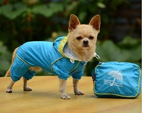 Pet Dog Rain Coat Waterproof Clothes Hoodie Jacket Jumpsuit Apparel Dog Clothes Raincoat For Small Dogs Raincoats girl boy (X LARGE, - Jumpsuit Coat