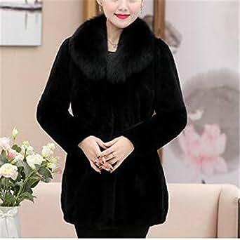 YHQYZZ Winter Women Fur Coat Long Imitation Rabbit Fur Coat Thickening Plus Size Ms Fake Fox Fur Collar Fur Coat 6XL Black XXXL