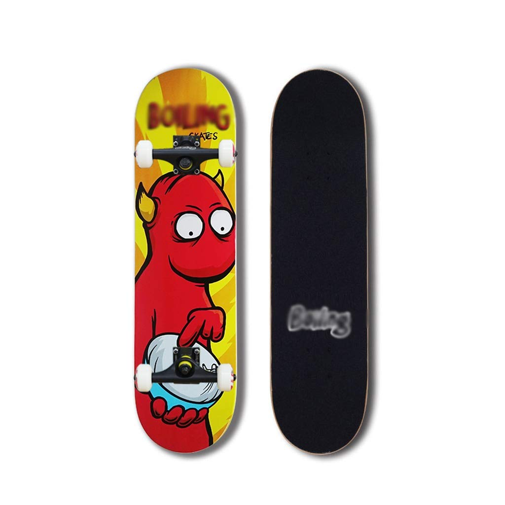 LINGLING-スケートボード ロングボードスタンダードスケートボードプロスケートボードダブルロッカー初心者男の子と女の子の十代の若者たち - 第1モンスター Colorful