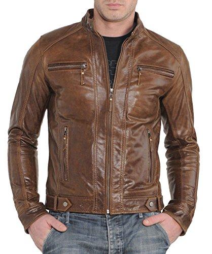Fashion Store FS Lambskin Leather Men's Bomber Biker Jacket Large - Fashion Store The