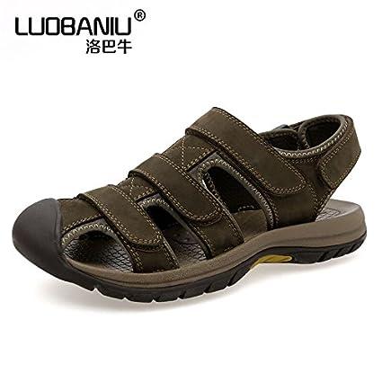 8392b8b6e37ba Amazon.com: Xing Lin Leather Sandals The New Summer Baotou Sandals ...