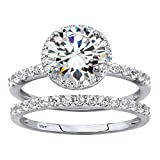 Solid 10K White Gold 2-Piece Bridal Ring Set, Round Cubic Zirconia Size 9