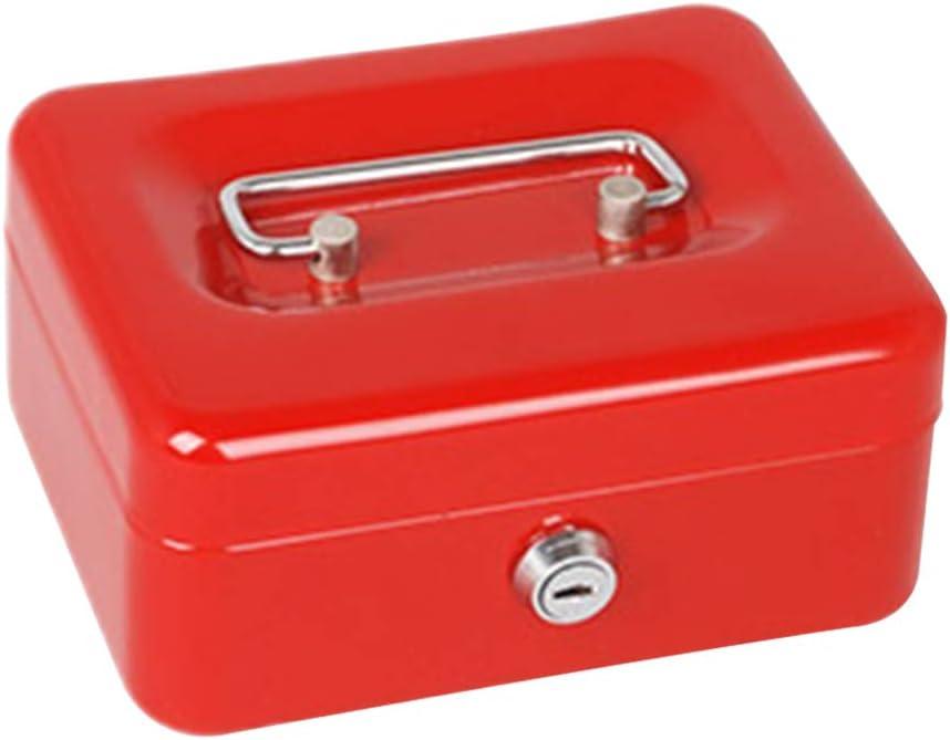 Faderr - Caja de Metal para Dinero en Efectivo con 2 Llaves, Caja pequeña de Acero Inoxidable con Cierre Seguro, Cubo de Almacenamiento para Monedas con asa, Rojo, Tamaño Libre: Amazon.es: Hogar
