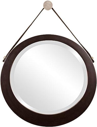 Howard Elliott 92013 Bloom Round Mirror with Lighter Brown Leather Hanging Strap, Deep Espresso Brown