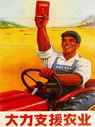 Red Poster Book (PROPAGANDA POLITICAL COMMUNIST CHINA SUPPORT FARM MAO RED BOOK POSTER BB8189B)