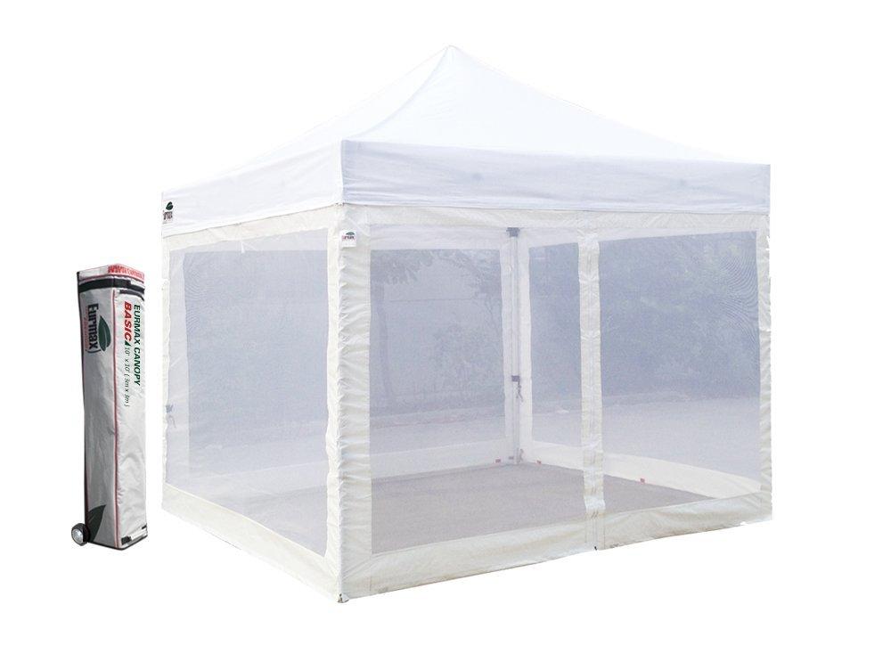Basic 10x10 Ez Pop up Canopy Screen Houses Shelter Instant Party Tent Gazebo +4 Removable Zipper End Mesh Sidewalls W/roller Bag(White)