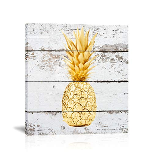 (K-Road Pineapple Canvas Prints Framed Wall Art Vintage Picture Painting Wood Texture Room Decor 12 x 12in (Gold))