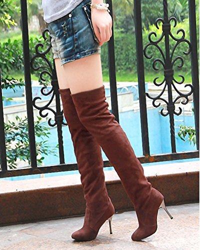 Donna Alto Ginocchio Lunghi Stivali Minetom Stivali Biker Tacco Marrone Stivali Unita Inverno Al Autunno Tinta Scarpe Allungare qdZdfv8