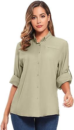 Womens Quick Dry Sun UV Protection Convertible Long Sleeve to Short Sleeve Shirts for Hiking Camping Fishing Sailing