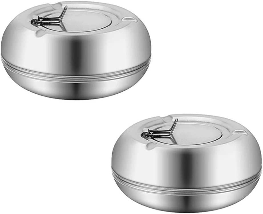 CUNYA 2PC Ashtrays with Lid, Stainless Steel Modern Outdoor Ashtrays for Cigarettes, Patio Decorations Windproof Ash Tray Sets for Weed, Tabletop Office Home Decor (Silver)