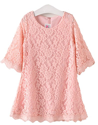 Tkiames Girls Easter Lace Flower Dress Casual Crew Neck Floral A-Line Party Dress