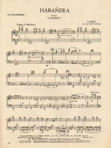 Habanera from Carmen: Sheet Music for Accordion ()