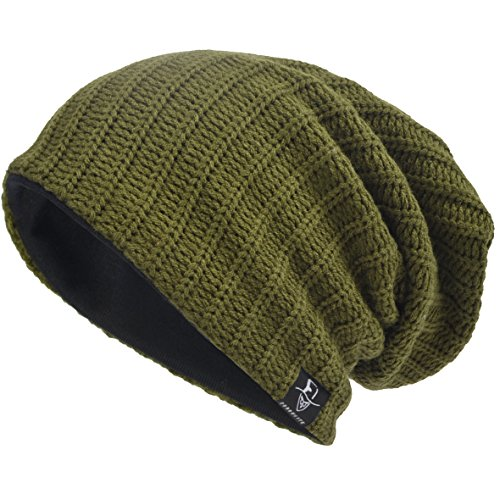 VECRY Men's Cool Cotton Beanie Slouch Skull Cap Long Baggy Hip-hop Winter Summer Hat B305 (Ribbed-Green) - Long Beanie Cap