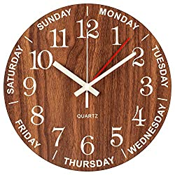 Night Light Wall Clock, Time of Day & Day of the Week Luminous Clock, Numerals Hands Glow In Dark, Silent Battery Operated Decorative Wooden Clock for Living room, Dining room, Kids Bedroom, Kitchen