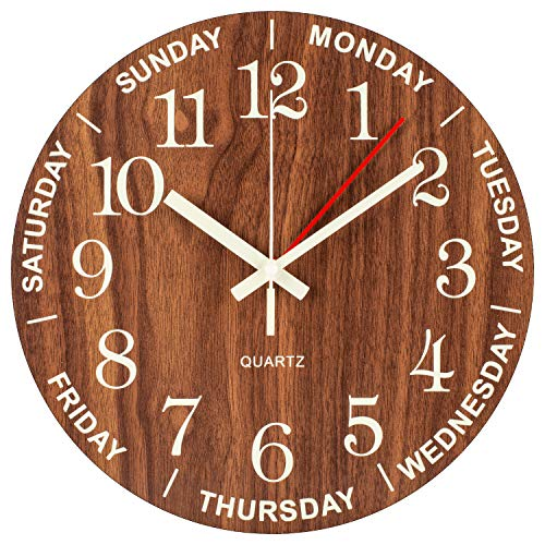 - Night Light Wall Clock, Time of Day and Day of the Week Clock Combination, Numerals Hands Glow In Dark, Silent Non-ticking Battery Operated Vintage Wooden Decorative for Living room/Dining room/Kids B