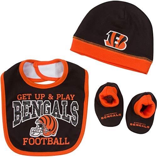 NFL Cincinnati Bengals Unisex-Baby Cap, Bootie & Bib Set, Black, 0-6 Months