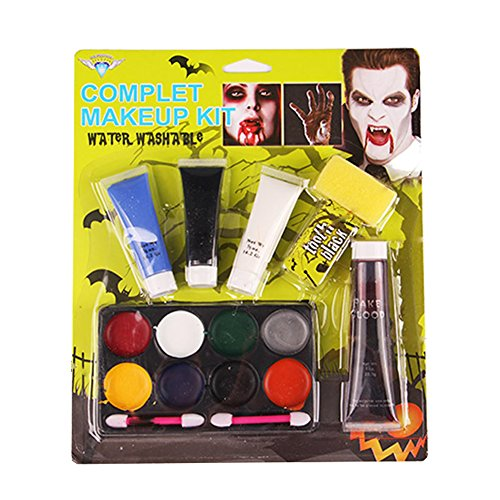 AFSTUP Halloween Makeup Set Body Face Painting with Brush, Use for Body Painting, Birthday, Halloween ,Fan Sports or Kids Makeup (Halloween Clown Makeup Guys)