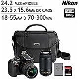 Nikon D3400 DSLR with AF-P DX, 18-55mm f/3.5-5.6G VR Lens, 24.2MP 1080p 5fps, Camera Bundle Kit