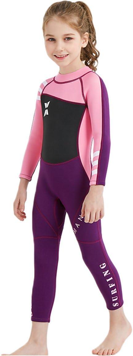 Akaeys Neoprene Swimsuit Girls Boys 2.5mm Thickness Premium Short or Long Back Zipper One Piece Thermal UV Protection Youth Swim Wetsuit