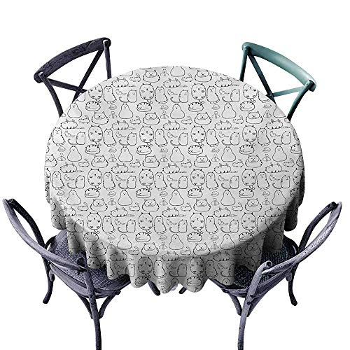 (Oil-Proof and Leak-Proof Tablecloth Cat Lazy Furry Feline Doodles Sleeping Silly Playful Pets Whiskers Sketch Art Monochrome Black White Washable Tablecloth D67)