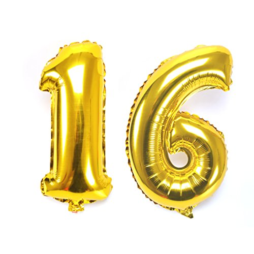 KIYOOMY 40'' Number 16 Balloon Kit Gold Gaint Jumbo Foil Mylar Number balloons For Sweet 16 Birthday Party Decorations (Places To Buy Balloons Near Me)
