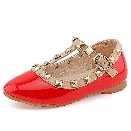 CCTWINS KIDS Toddler Little Kid Baby Girl Studded T-Strap Flat Shoes for Child