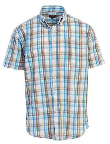 Gioberti Men's Plaid Western Shirt, Brown/Blue, ()