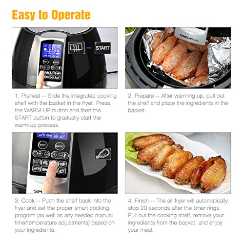 SimpleTaste 1400W Multi-function Electric Air Fryer with Rapid Air Circulation Technology, Smart Programs with Automatic and Manual Timer & Temperature Controls, 3.2 QT by SimpleTaste (Image #3)