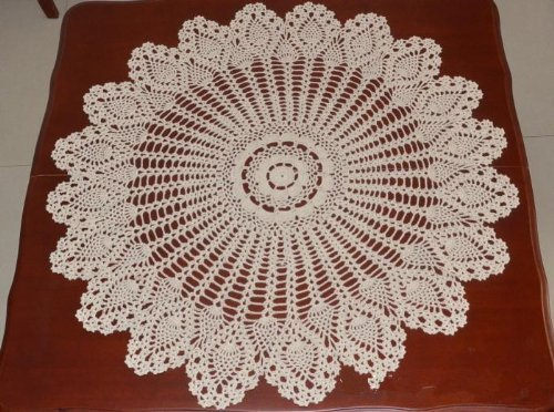 31.4 33.5 Inches (80 85 Cm) Cotton Hollow Decorative Table Cover, American  Country Pineapple Flower Beige Table Cloth