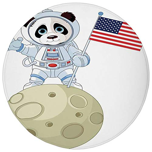 Round Rug Mat Carpet,Panda,Panda Astronaut on The Moon Holding USA Flag Moonwalk Imagination Fantasy Picture,Red Navy White,Flannel Microfiber Non-Slip Soft Absorbent,for Kitchen Floor Bathroom for $<!--$12.92-->