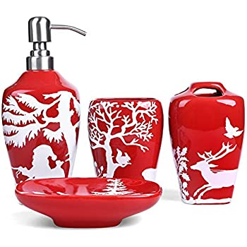 FORLONG FL3017 Ceramic Bathroom Accessories Set of 4:1 Tumbler,1 Toothbrush Holders,1 Soap Dishes,1 Soap Dispenser(Christmas Tree)