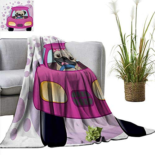 """AndyTours Throw Blanket,Pug,Dog Driving on The Cute Pink Car Girly Design Happy Moments and Love Animals Print,Pink Yellow,Sofa Super Soft, Plush, Fuzzy Microfiber Throw Reversible,Comfy 60""""x78"""""""