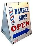 BARBER SHOP OPEN w/ Dirrectional Arrow 2-Sided 18'' x 24'' Sandwich Board Sign Kit