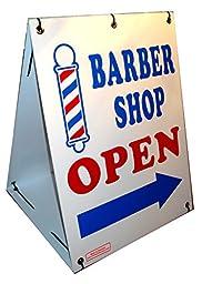 BARBER SHOP OPEN w/ Dirrectional Arrow 2-Sided 18\