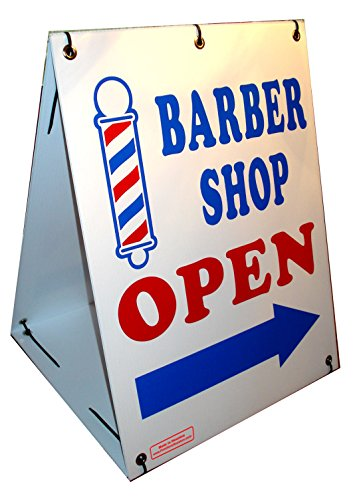Photo BARBER SHOP OPEN w/ Dirrectional Arrow 2-Sided 18