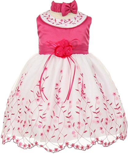 ss Rounded Neck Embroidery Baby & Infant Dress Fuchsia 12M CH.555 (Fuchsia Embroidery)