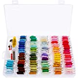 Anpro 144PCS Embroidery Floss Set with Organizer Box 96 Rainbow Colors Bracelets Floss String Embroidery Thread Craft Floss Cross Stitch Threads with Embroidery Tools Kits Christmas Gift(144 PCS)