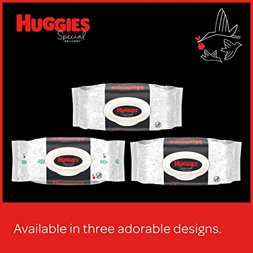 51QTFk4zCGL. AC - Huggies Special Delivery Hypoallergenic Baby Wipes, Unscented, 3 Flip-Top Packs (168 Wipes Total)